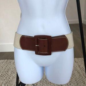 Calvin Klein Brown Leather Natural Stretch Belt